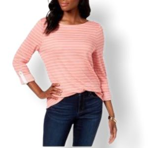 Charter Club Striped 3/4 Sleeve Top Pink Guava